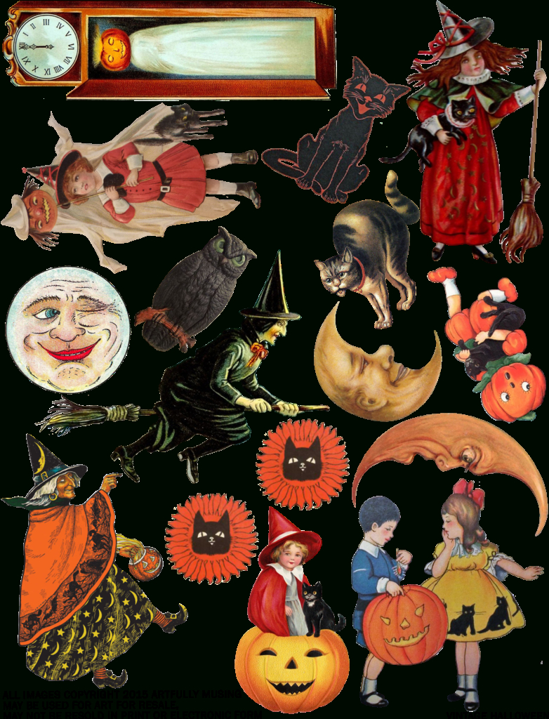 Artfully Musing: Free Vintage Halloween Collage Sheet - Happy - Free Printable Vintage Halloween Images