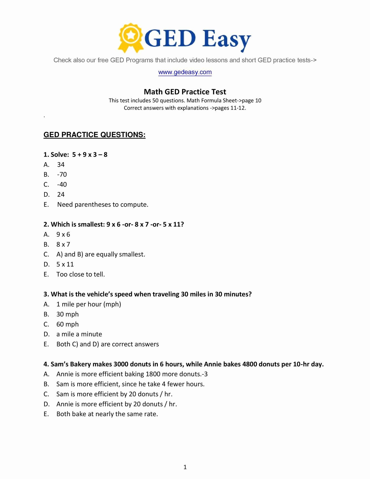 Asvab Math Worksheets - Briefencounters Worksheet Template Samples - Free Ged Practice Test 2016 Printable