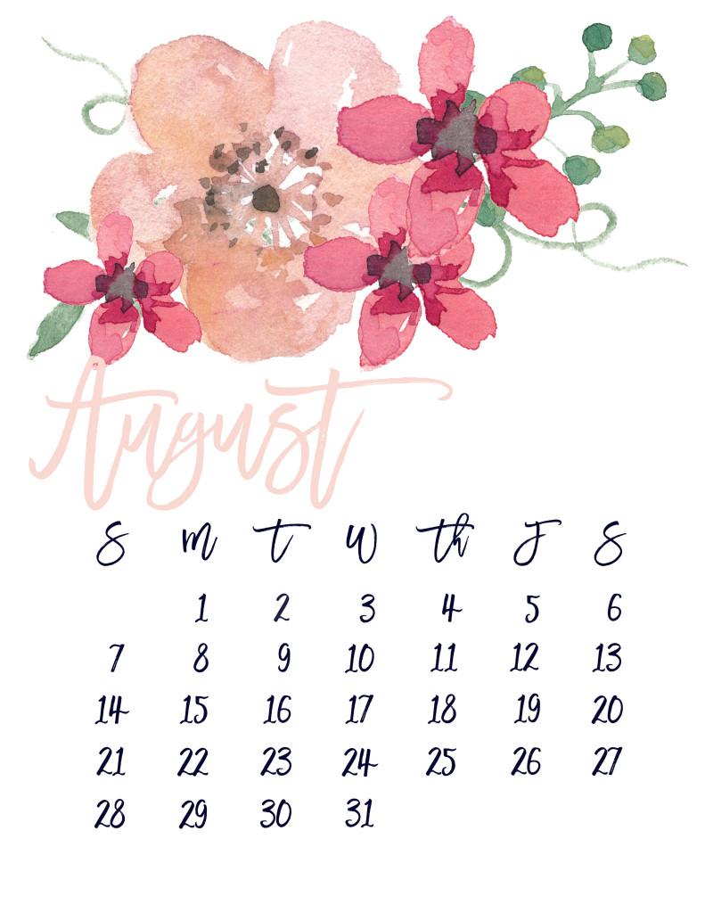 August 2016 Free Pretty Printable Calendar | Marinobambinos - Free Printable Clipart For August