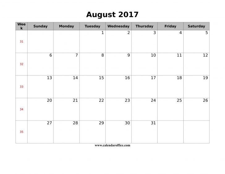 Free Printable August 2017