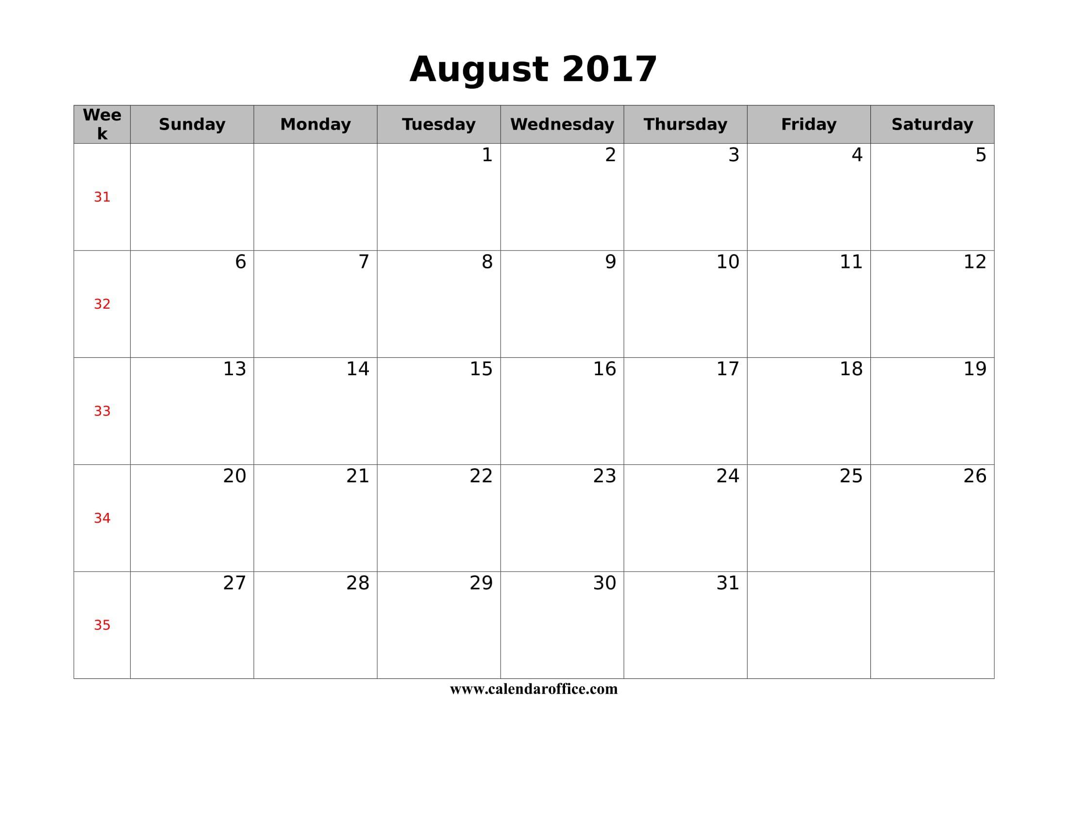 August 2017 Calendar Free Printable | August 2017 Calendar | Pinterest - Free Printable August 2017
