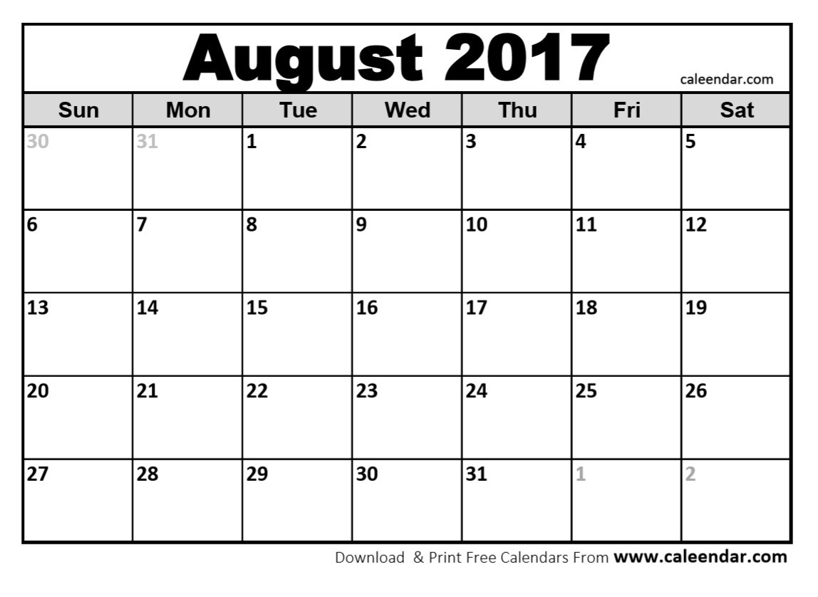August 2017 Calendar | Otohondalongan - Free Printable August 2017