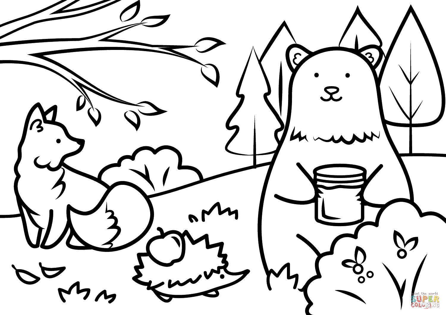 Autumn Animals Coloring Page | Free Printable Coloring Pages - Free Printable Fall Coloring Pages