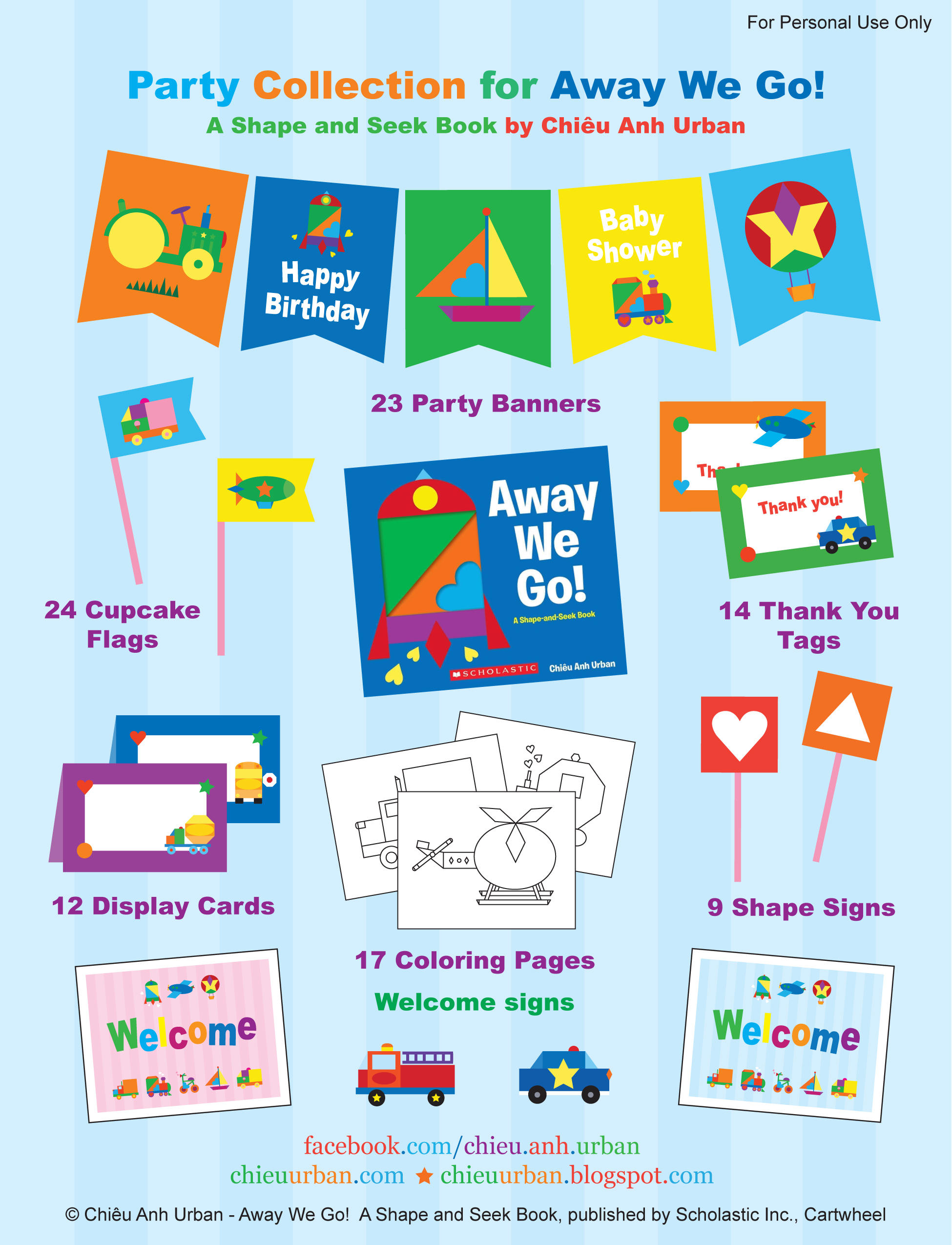 Away We Go Transportation Party Printables + Coloring Pages From - Free Printable Thank You Tags For Birthdays