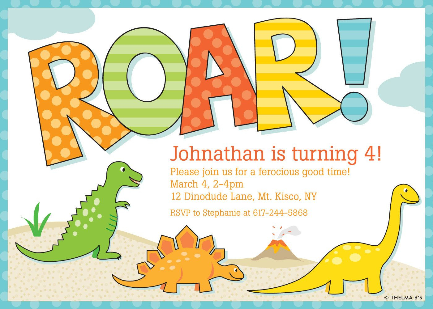 Awesome Free Template Free Printable Dinosaur Birthday Invitations - Free Printable Dinosaur Birthday Invitations
