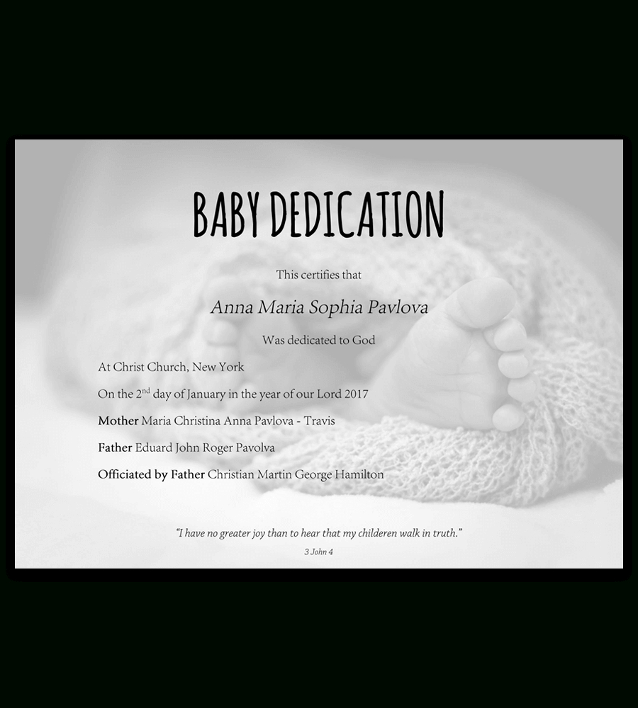 Baby Dedication Certificate Template For Word [Free Printable] - Free Printable Children's Certificates Templates