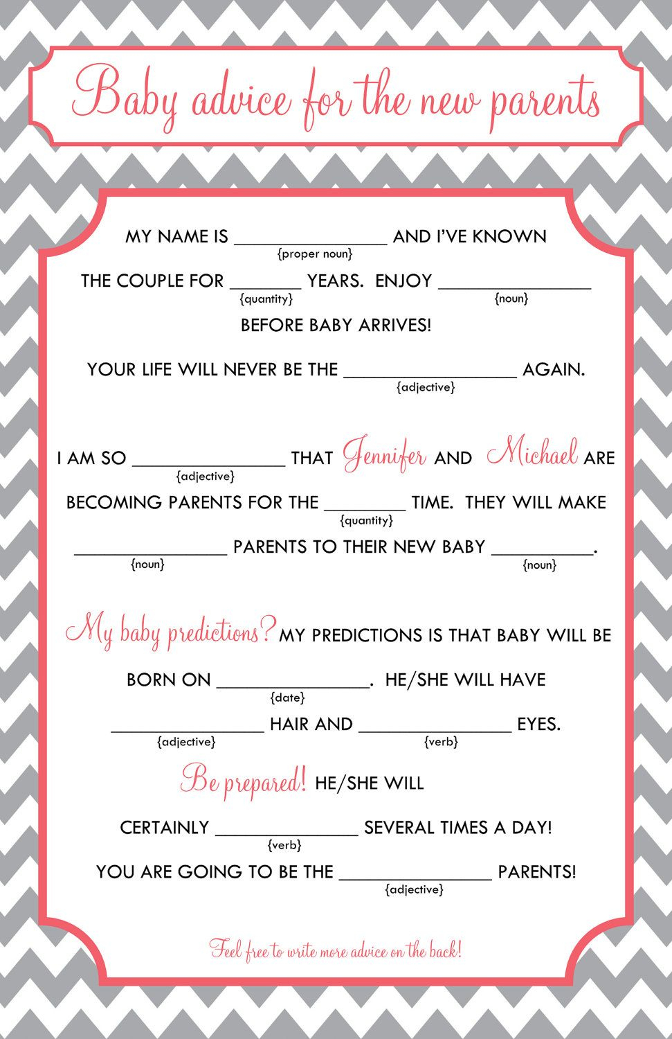 Baby Mad Libs - Baby Advice, Printable Digital File. $15.00, Via - Baby Shower Mad Libs Printable Free
