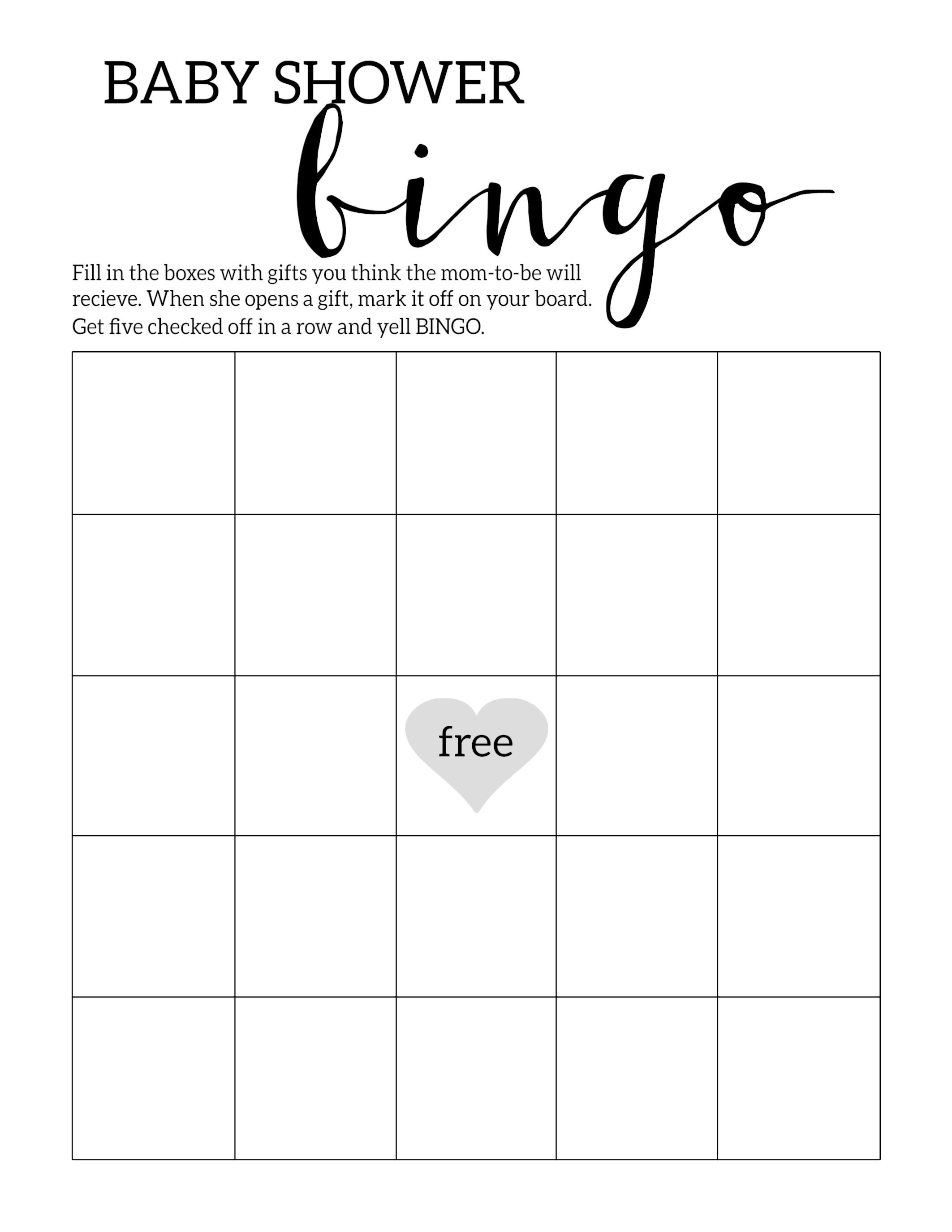 Baby Shower Bingo Printable Cards Template | Baby Shower | Baby - Free Printable Baby Shower Bingo