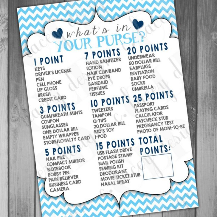 Free Printable Baby Shower Game What's In Your Purse