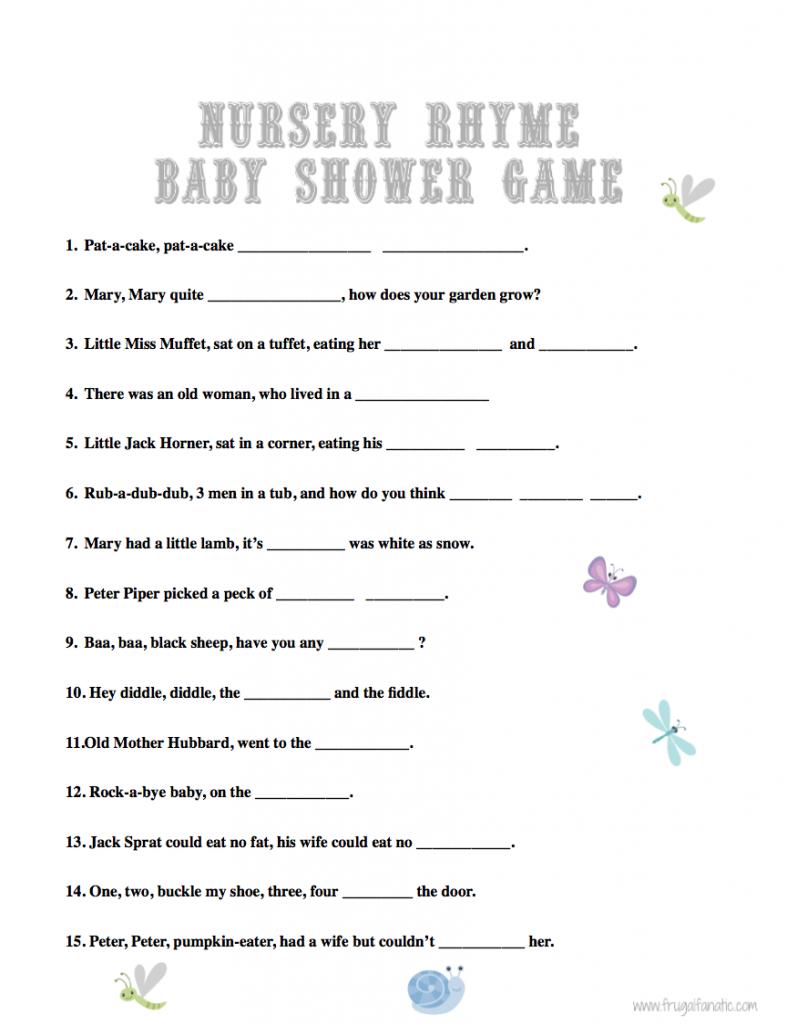 Baby Shower Games: Nursery Rhyme - Frugal Fanatic - Free Printable Nursery Rhymes Songs