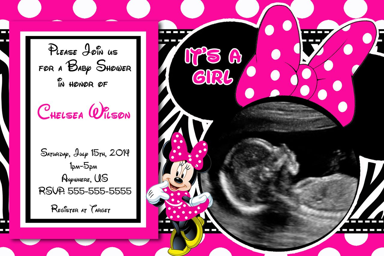 Baby Shower Invitations: Minnie Mouse Baby Shower Invitations - Free Printable Zebra Baby Shower Invitations