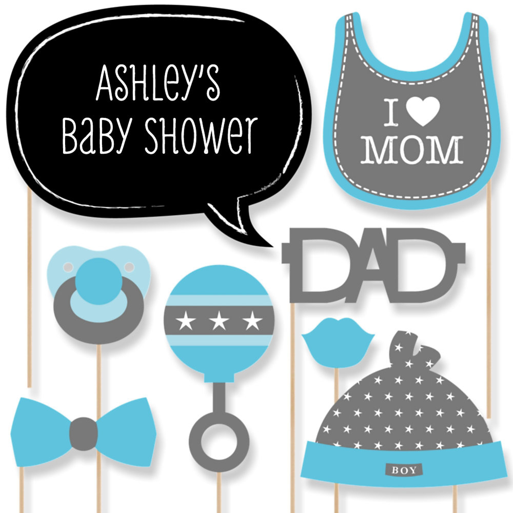 Baby Shower. Photo Booth Baby Shower: Baby Shower Photo Booth Props - Free Printable Boy Baby Shower Photo Booth Props