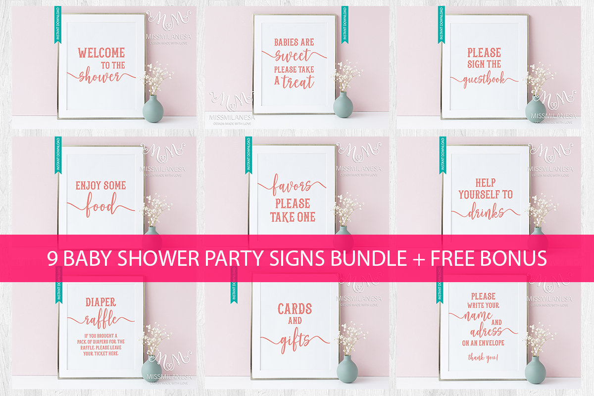 Baby Shower Signs Printable Baby Shower Package Baby Shower | Etsy - Free Printable Baby Shower Table Signs