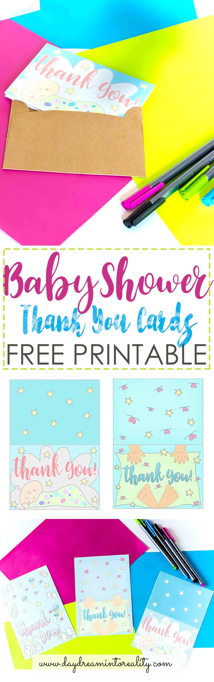 Baby Shower Thank You Cards Free Printable ~ Daydream Into Reality - Free Printable Baby Shower Thank You Cards