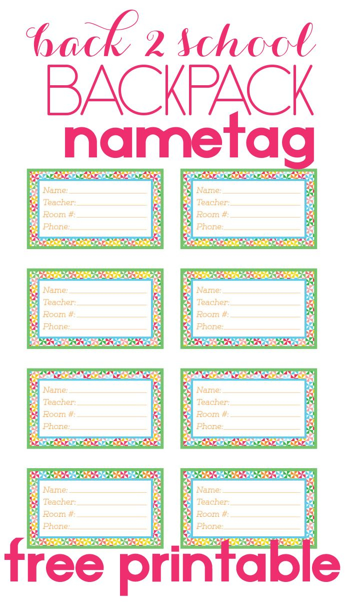 Back To School Backpack Name Tag | Free Printable | School Backpacks - Free Printable Name Tags For Teachers