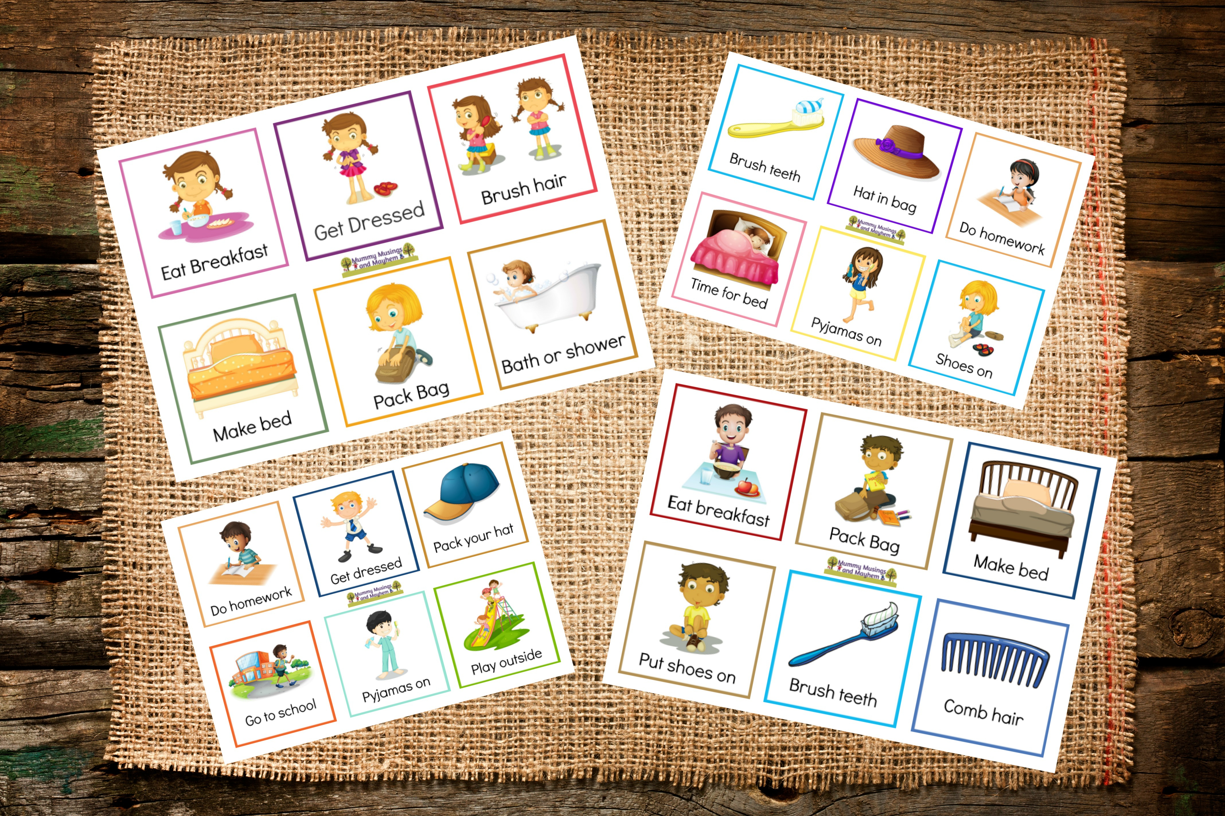 Back To School Routines - Free Printable Cards To Make It Easier - Free Printable Daily Routine Picture Cards