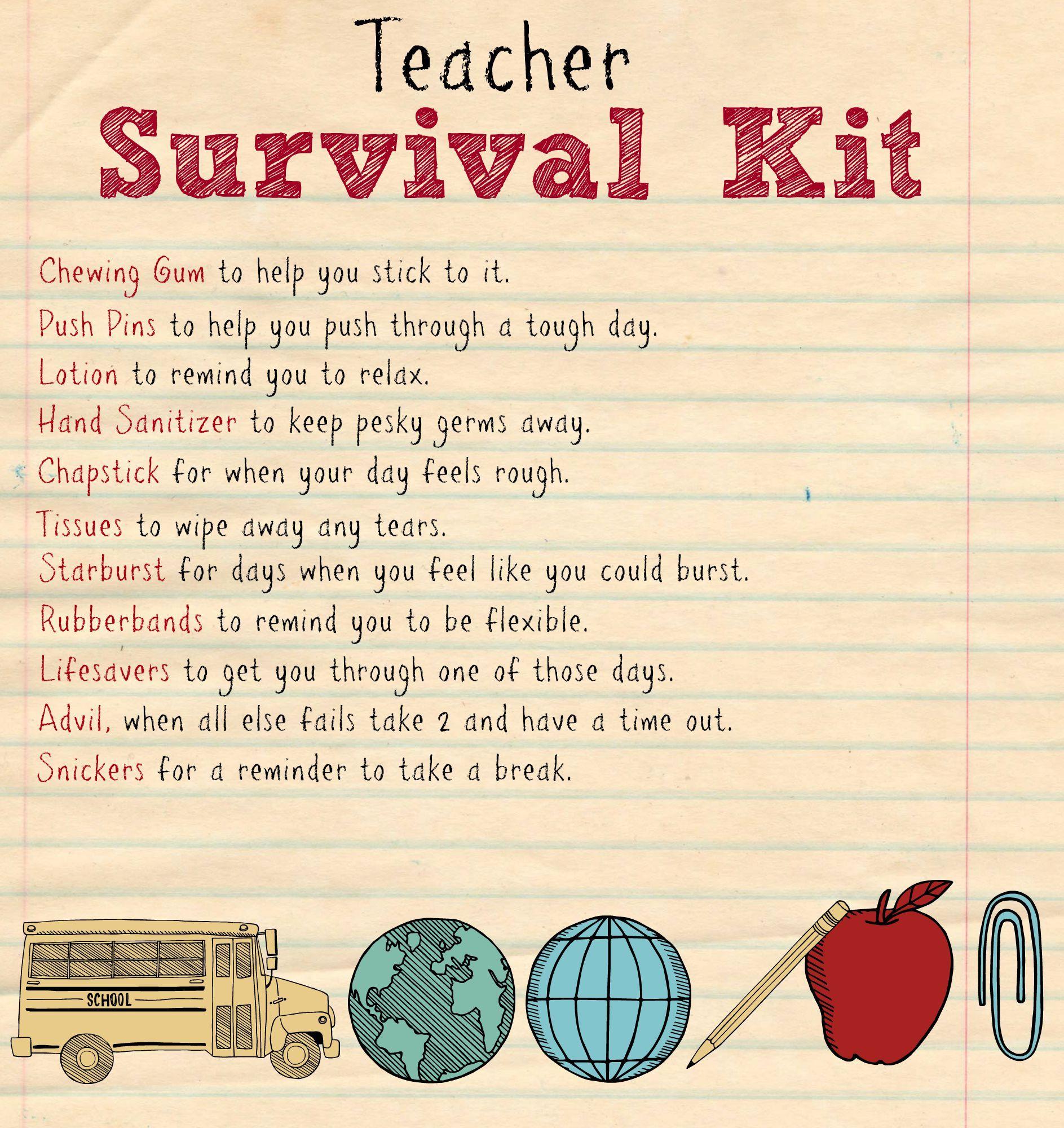 Back To School Teacher Supply Kit | Survival Kit | Survival Kit For - Teacher Survival Kit Free Printable