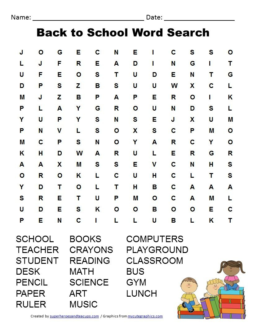 Back To School Word Search Free Printable For Kids | Back To School - Free Printable Word Searches For Middle School Students