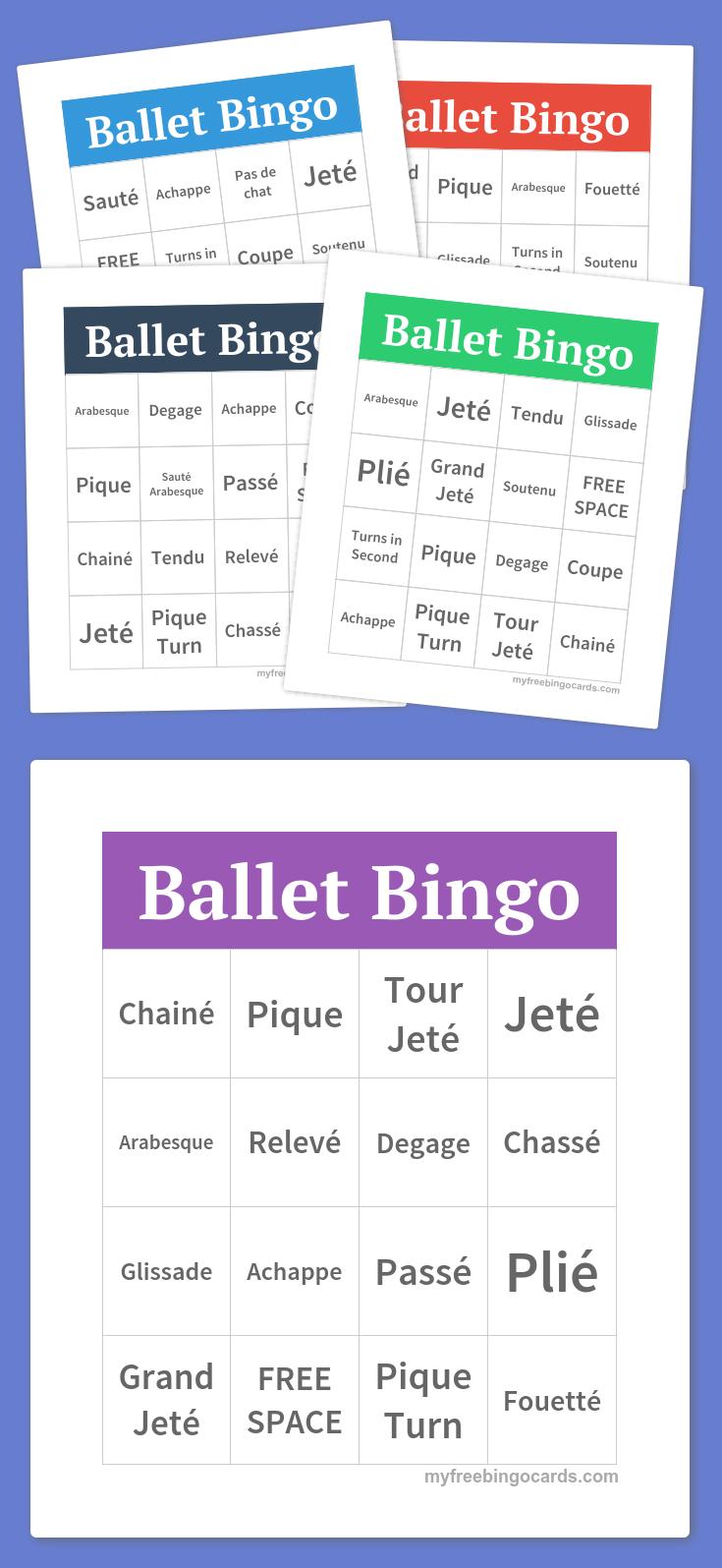 Ballet Bingo | Dance In 2019 | Bingo, Bingo Cards, Word Bingo - Free Printable Self Esteem Bingo