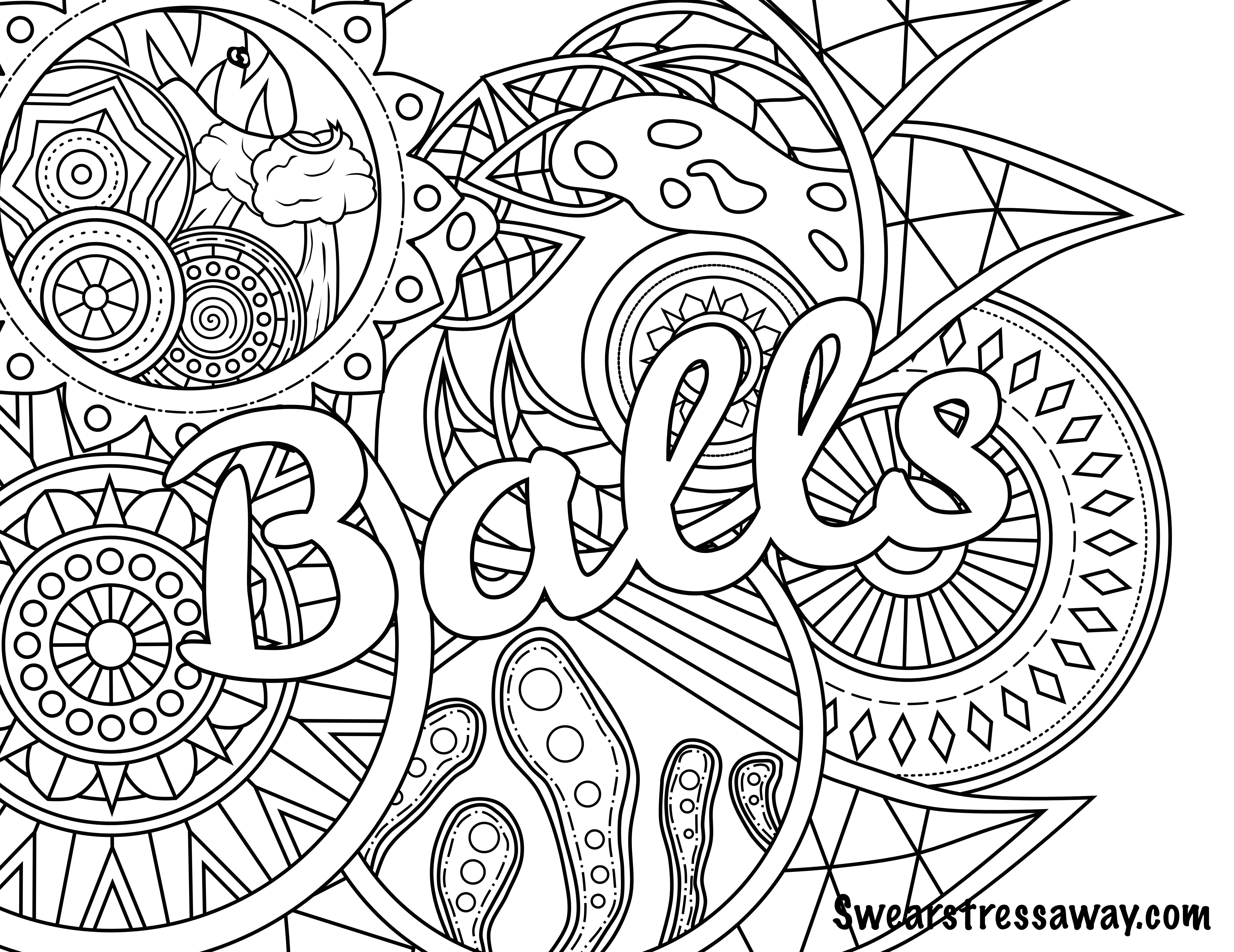Balls - Swear Word Coloring Page - Adult Coloring Page - Free Printable Coloring Pages For Adults Only Swear Words