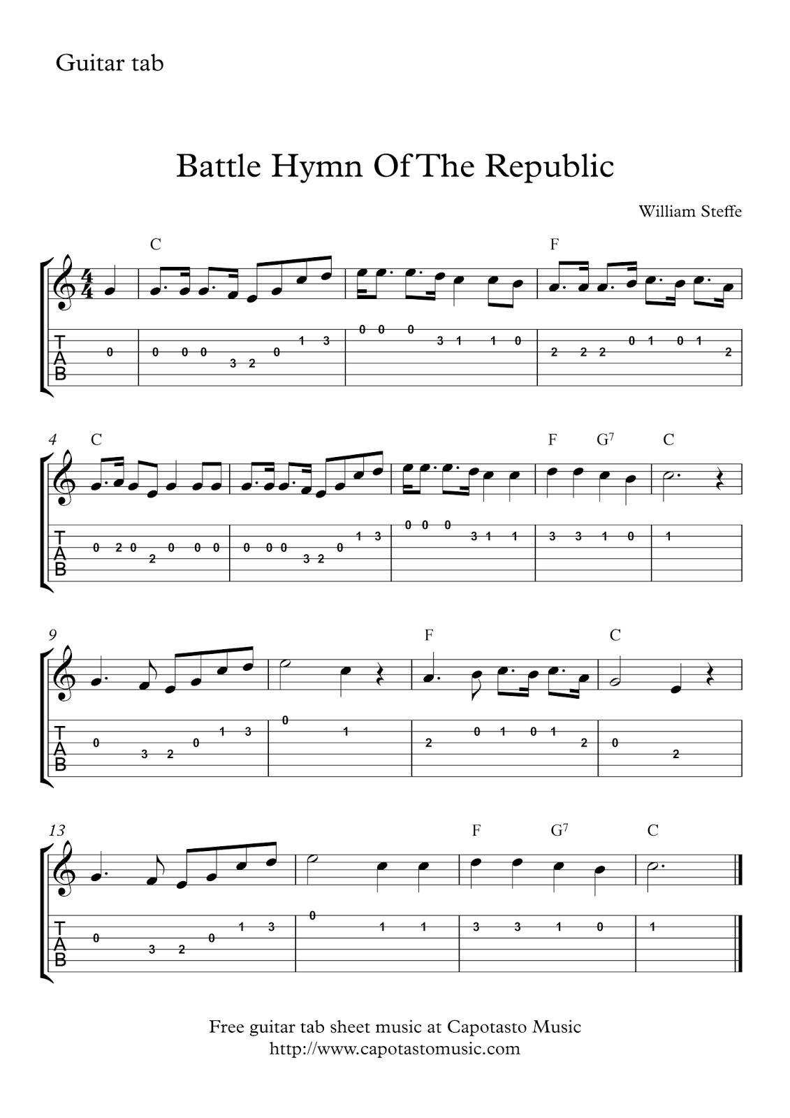 Battle Hymn Of The Republic Free Guitar Tab Sheet Music   Sheet - Free Guitar Sheet Music For Popular Songs Printable