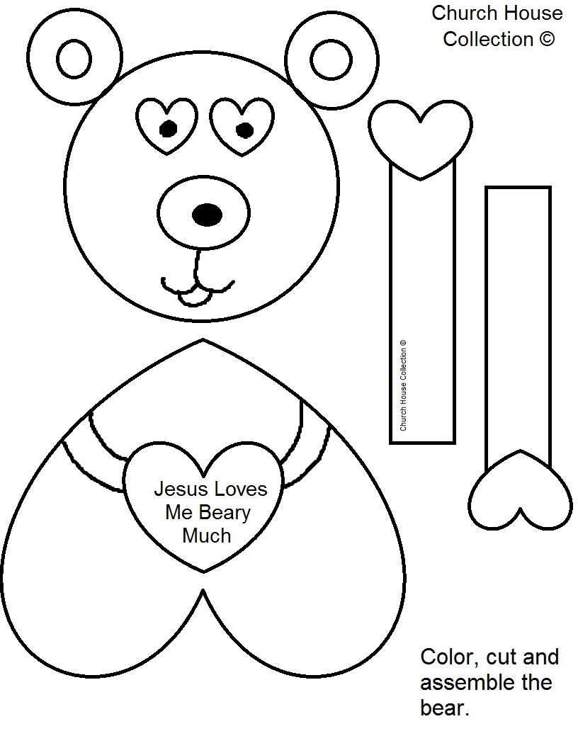 Bear Valentine Craft Jesus Loves You Beary Much - Free Printable Bible Crafts