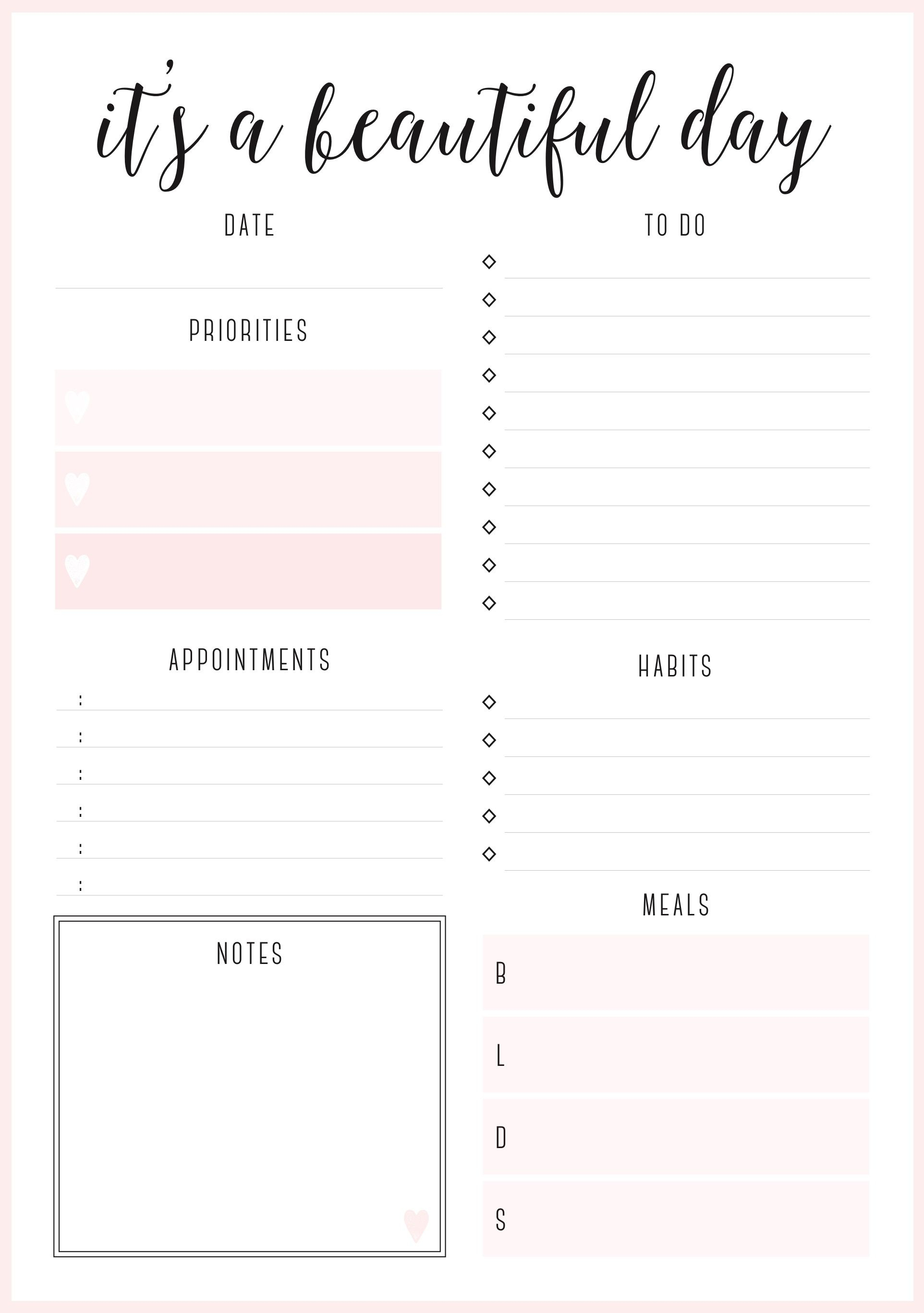 Beautiful Daily Planners - Free Printables | Planner Pages - Free Printable Daily Planner