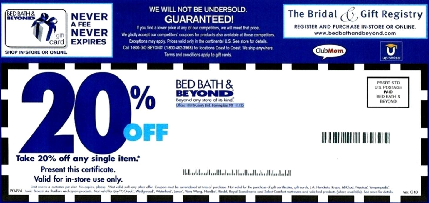 Bed Bath And Beyond Coupons - Free Printable Bed Bath And Beyond Coupon 2019
