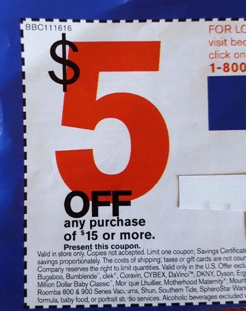 Bed Bath Beyond Coupon 5 Off Save $5 (Any Purchase $15 Or More) Deal - Free Printable Bed Bath And Beyond Coupon 2019