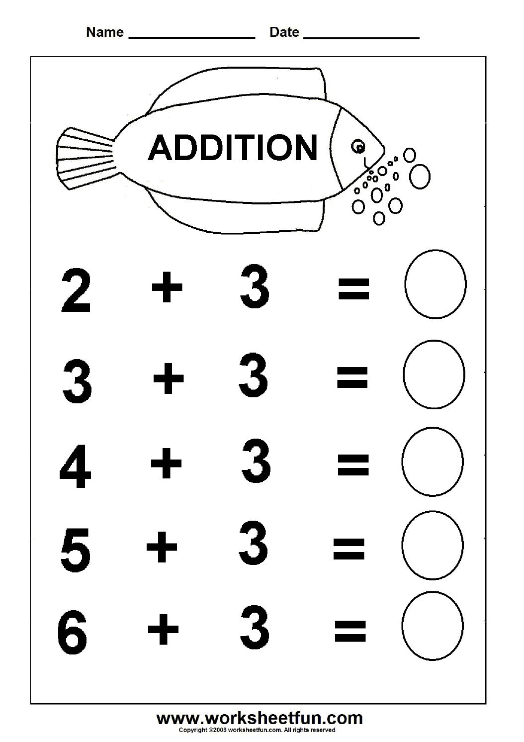 Beginner Addition – 6 Kindergarten Addition Worksheets / Free - Free Printable Sheets For Kindergarten