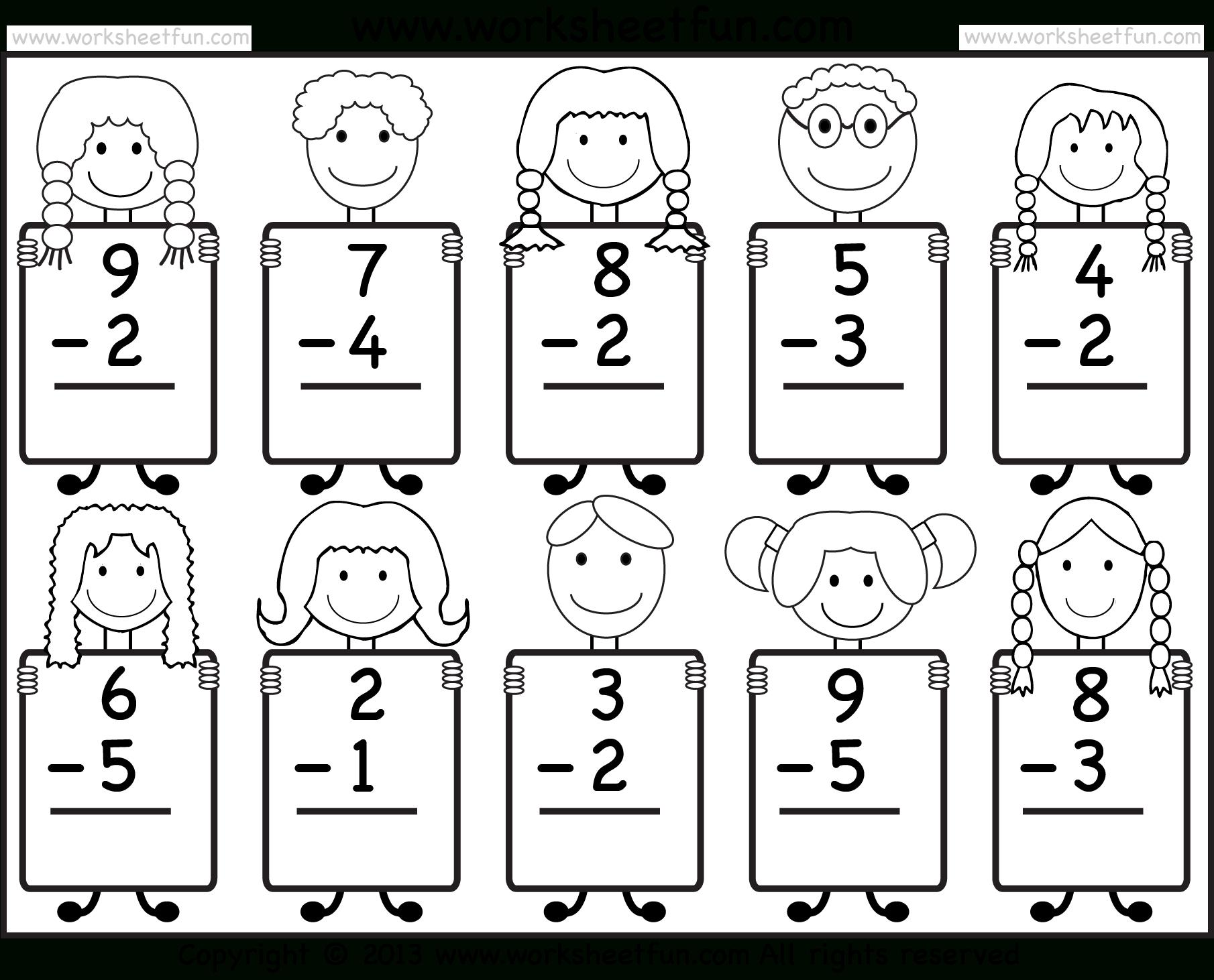Beginner Subtraction – 10 Kindergarten Subtraction Worksheets / Free - Free Printable Sheets For Kindergarten