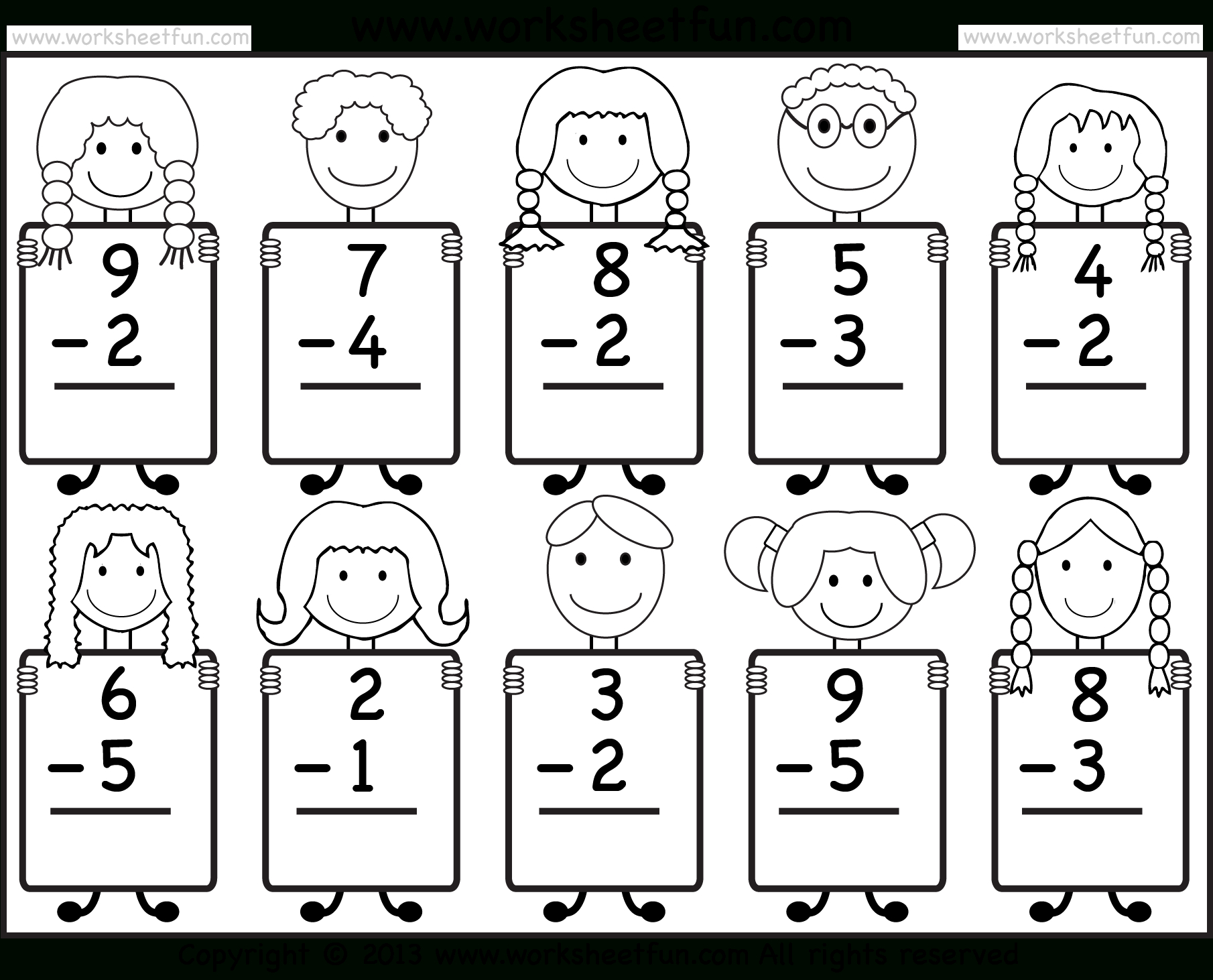 Beginner Subtraction – 10 Kindergarten Subtraction Worksheets / Free - Free Printable Worksheets For Kg1
