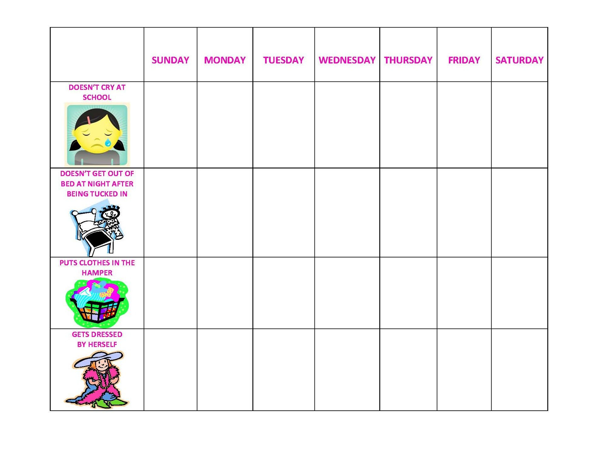 Behavior Charts Printable For Kids | Printable Reward Charts - Free Printable Behavior Charts