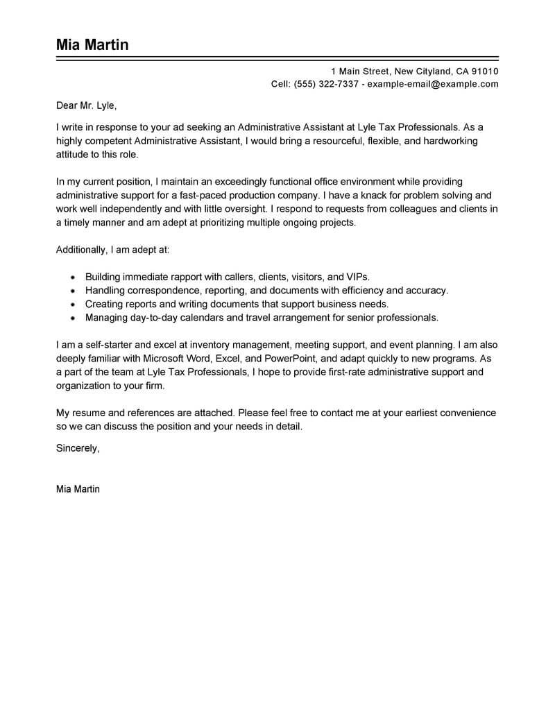 Best Administrative Assistant Cover Letter Examples | Livecareer - Free Printable Resume Cover Letter Templates