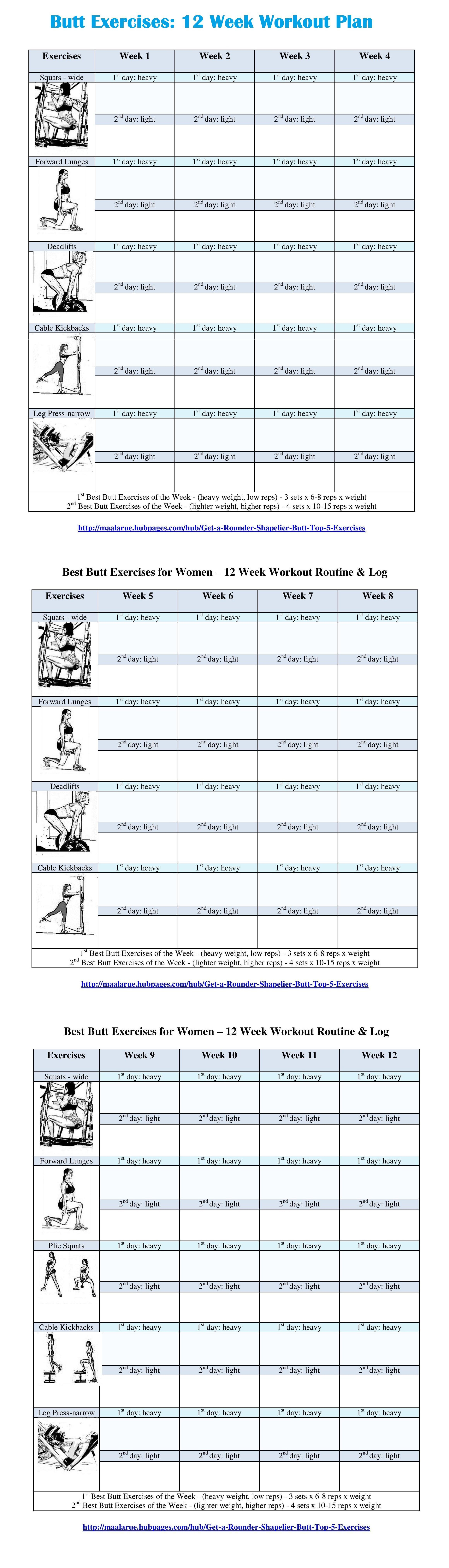 Best Butt Workouts For Women - Free Printable 12 Week Butt Workout - Free Printable Gym Workout Routines