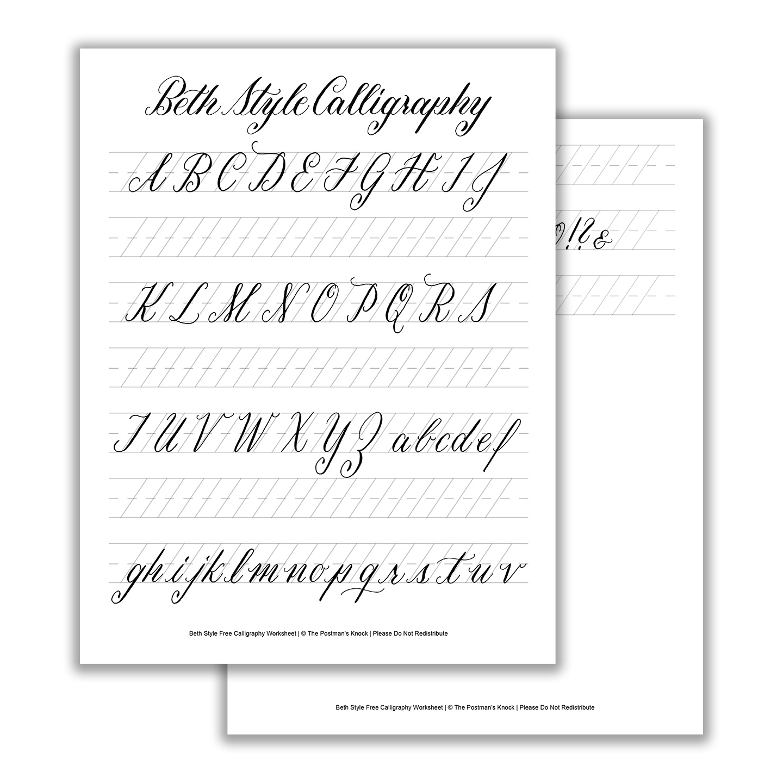 Beth Style Calligraphy Standard Worksheet | The Postman's Knock - Free Printable Calligraphy Worksheets