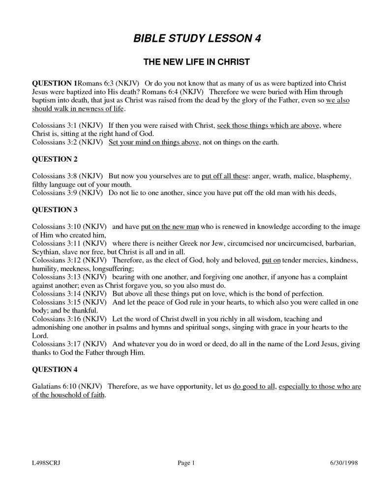 Bible Lesson Worksheets Free Printable Study Lessons For Adults Best - Bible Lessons For Adults Free Printable