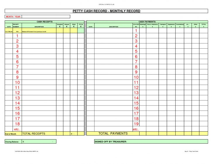 Free Cash Book Template Printable