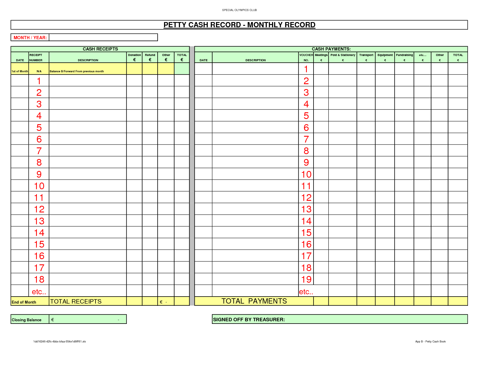 Bill Of Quantities Excel Template And Free Petty Cash  Picture - Free Cash Book Template Printable