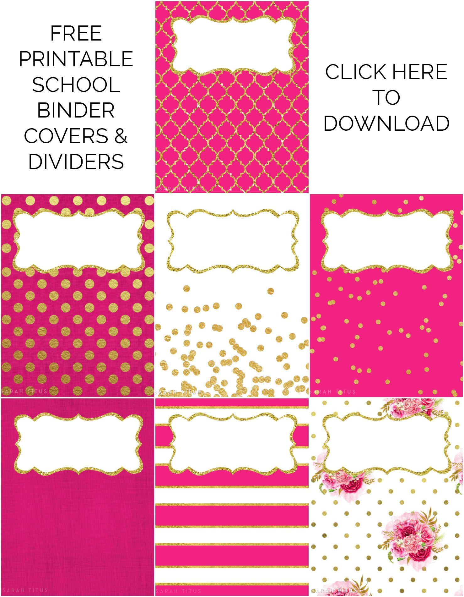 Binder Covers / Dividers Free Printables | Plans | Binder, Binder - Free Printable School Binder Covers