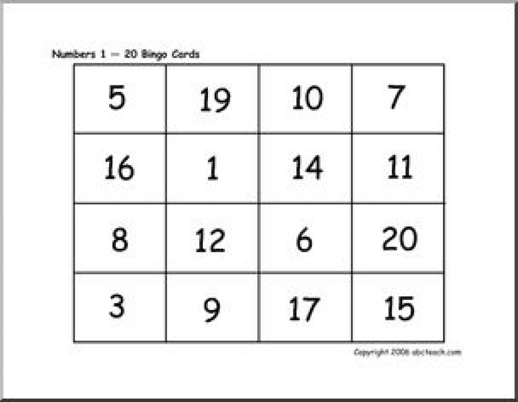 photograph about Free Printable Number Cards 1-20 identified as Bingo Playing cards: Quantities 1-20 Abcteach In the course of Totally free
