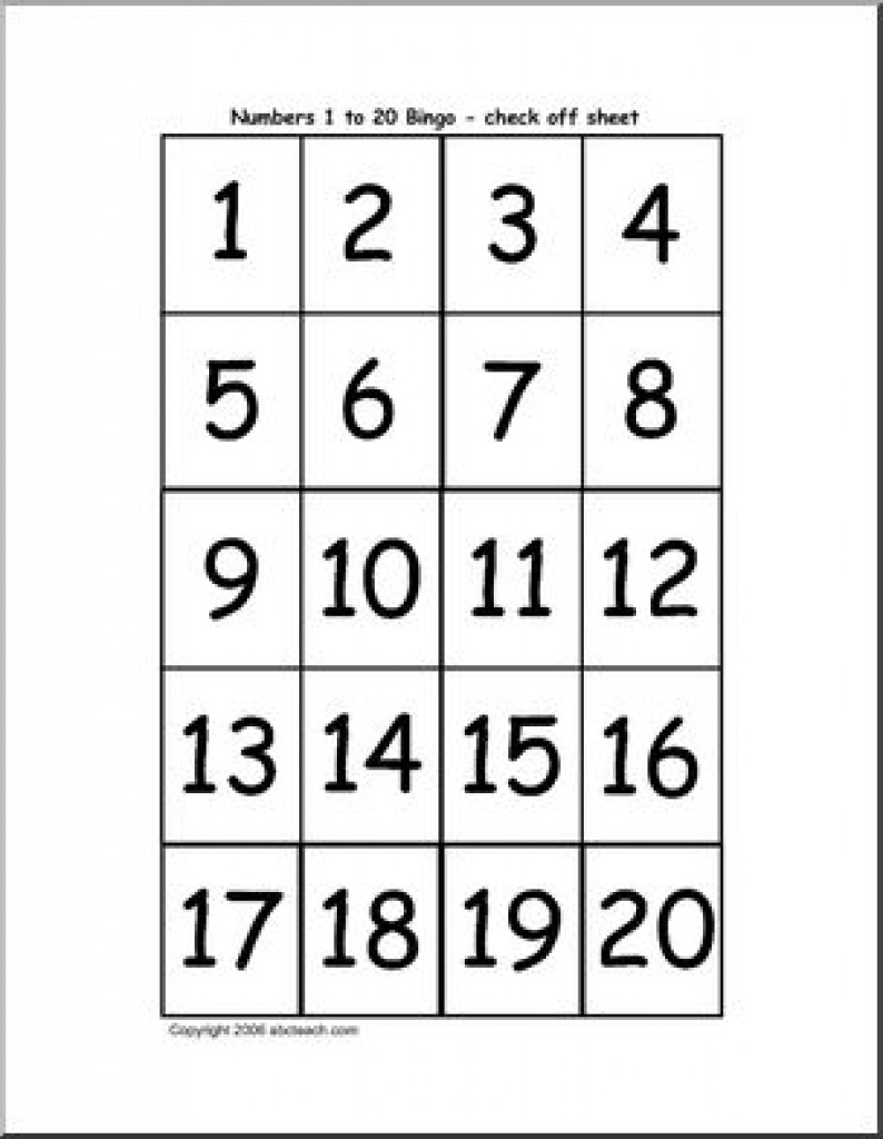 Bingo Cards: Numbers 1-20 (Check Sheet) | Abcteach Intended For Free - Free Printable Number Bingo Cards 1 20
