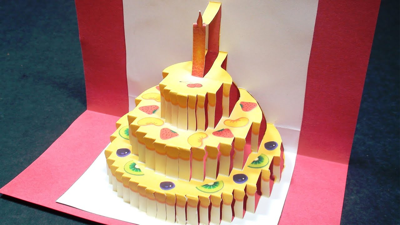Birthday Cake Pop Up Card (Happy Birthday Kirigami) | Free Template - Free Printable Kirigami Pop Up Card Patterns