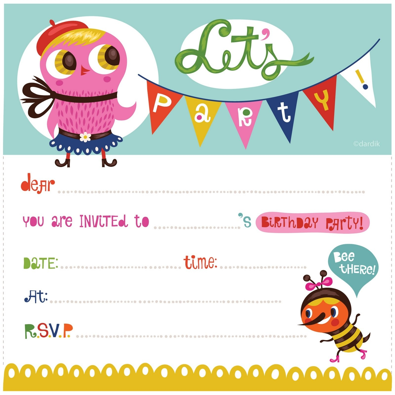 Birthday Invitation Card Template Printable | World Of Label - Free Printable Birthday Invitation Cards Templates