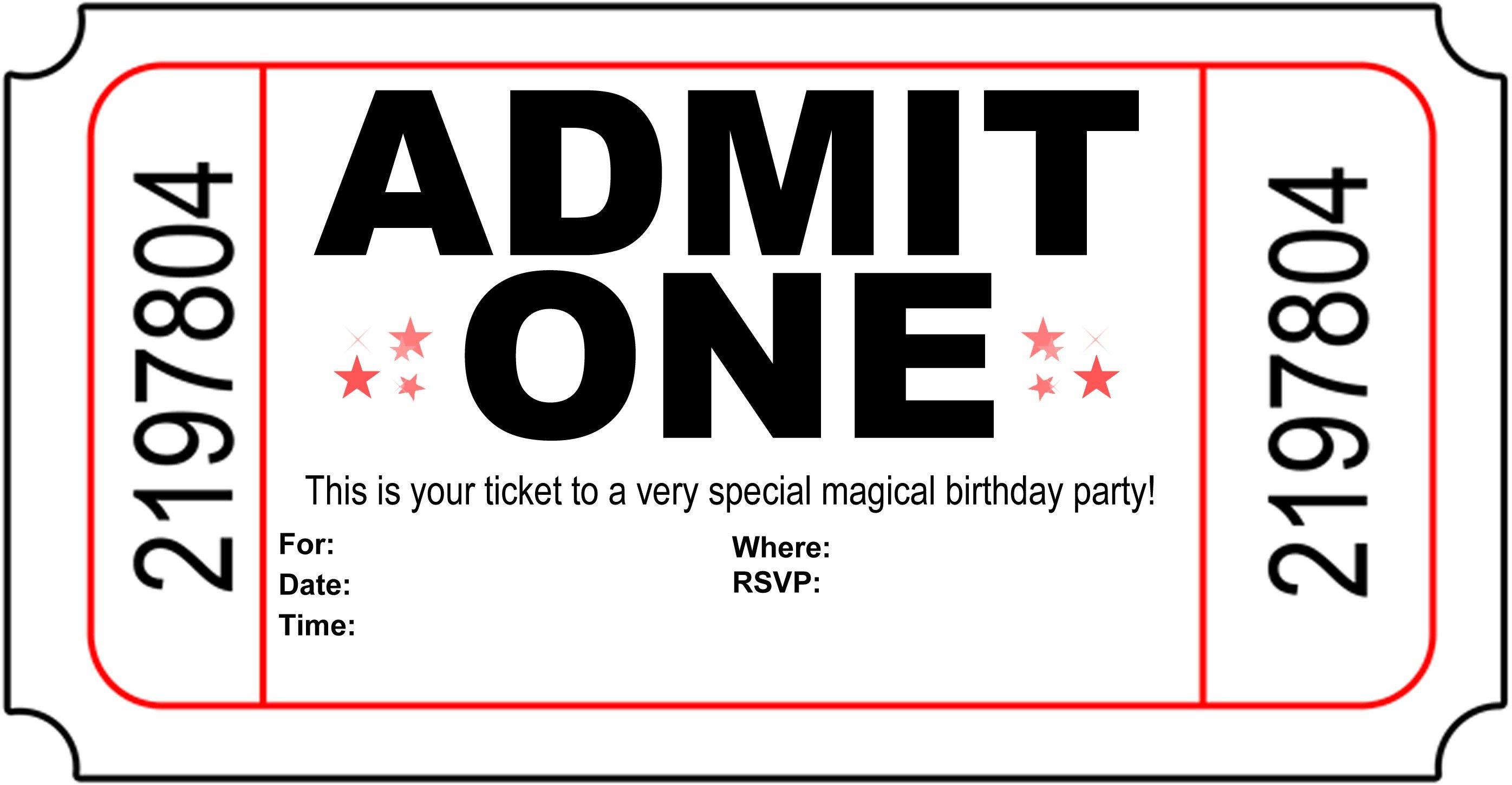 Birthday Party Invitation Free Printable   Printshop.   Pinterest - Free Printable Movie Ticket Birthday Party Invitations
