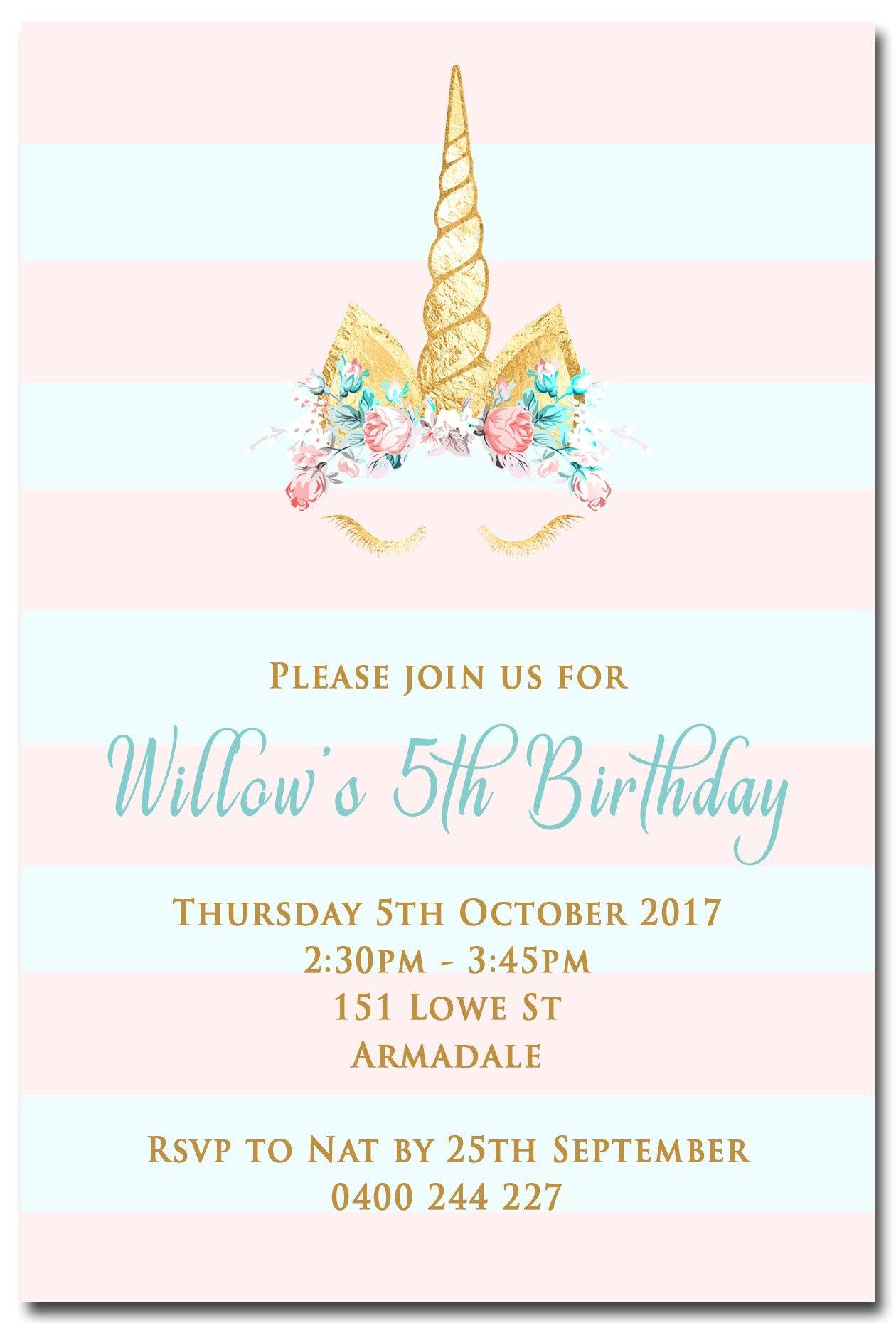 Birthday Party Invitations, Excellent Unicorn Birthday Invitations - Make Your Own Birthday Party Invitations Free Printable