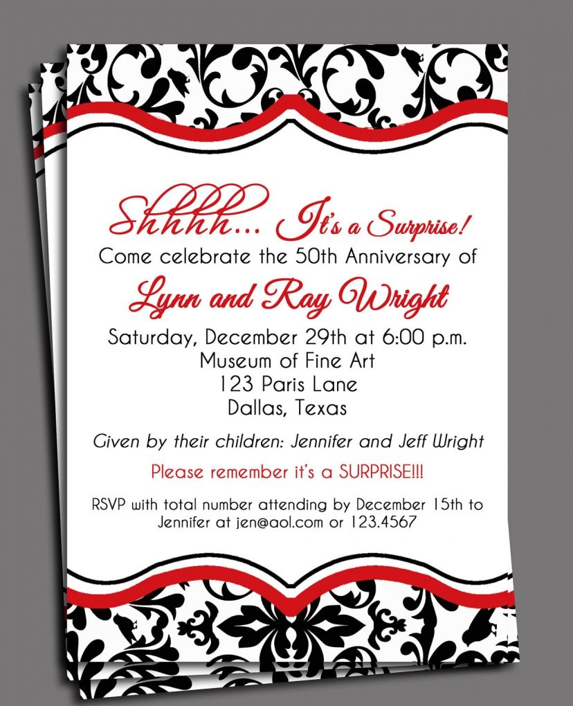 Black Damask Invitation Printable Or Printed With Free Shipping - Free Printable 40Th Anniversary Invitations