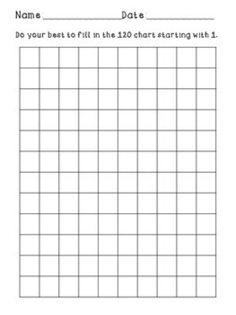 Blank 120 Chartkali Schoonmaker | Teachers Pay Teachers Intended For - Free Printable Blank 1 120 Chart