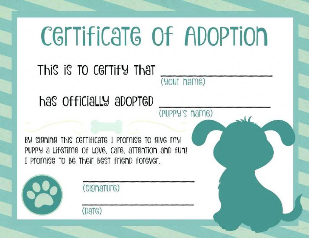 Blank Adoption Te Template Printable Stuffed Animal Tes Free - Free Printable Stuffed Animal Adoption Certificate