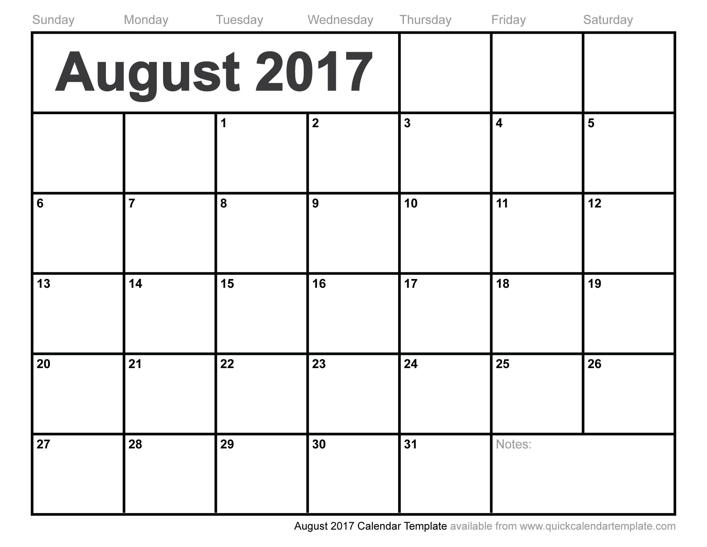 Blank August 2017 Calendar | August 2017 Calendar | June Calendar - Free Printable August 2017